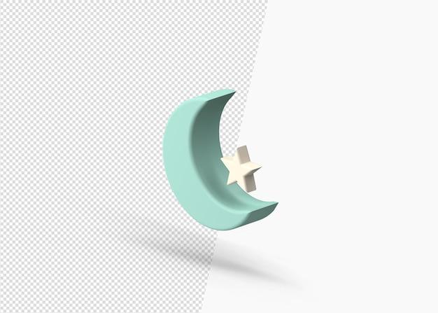 3d-weergave van het ontwerp van de wassende maan en ster