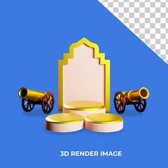 3d-weergave van het podium met islamitisch concept