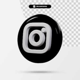 3d-weergave van instagram-toepassingslogo geïsoleerd