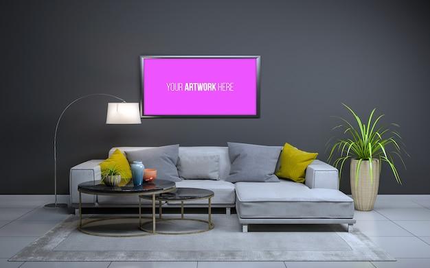 3d-weergave van interieur van moderne woonkamer met bank, bank en tafel