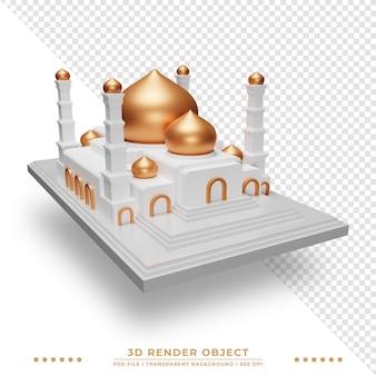 3d-weergave van islamitische moskee met sprankelende koepel
