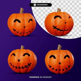 3d-weergave van jack pompoenen halloween concept met verschillende hoek geïsoleerd