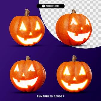 3d-weergave van jack pompoenen lantaarn halloween concept met verschillende hoek geïsoleerd
