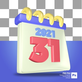 3d-weergave van kalenderobject aan het einde van het jaar in blauw en wit met nummer 31 in rood