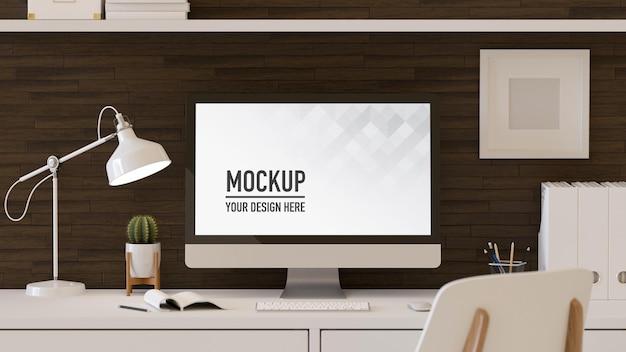 3d-weergave van kantoor aan huis kamer met computer mockup