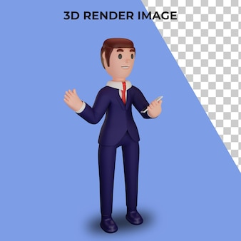 3d-weergave van karakter met bedrijfsconcept