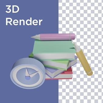 3d-weergave van klok, boek en potlood bovenaanzicht