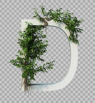3d-weergave van kruipende boom op alfabet d