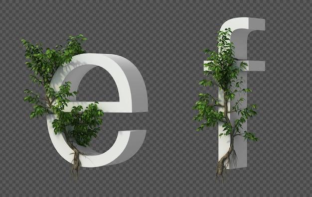 3d-weergave van kruipende boom op alfabet e en alfabet f