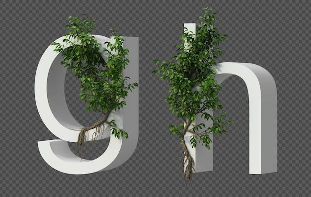 3d-weergave van kruipende boom op alfabet g en alfabet h