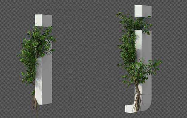 3d-weergave van kruipende boom op alfabet i en alfabet j