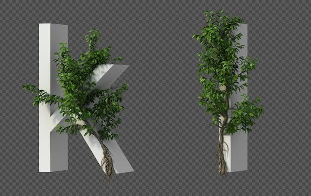 3d-weergave van kruipende boom op alfabet k en alfabet l