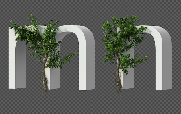 3d-weergave van kruipende boom op alfabet m en alfabet n