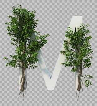 3d-weergave van kruipende boom op alfabet m