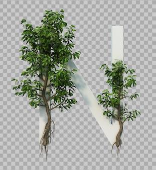3d-weergave van kruipende boom op alfabet n