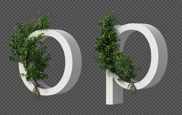 3d-weergave van kruipende boom op alfabet o en alfabet p