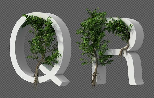 3d-weergave van kruipende boom op alfabet q en alfabet r.
