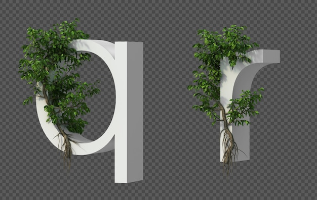 3d-weergave van kruipende boom op alfabet q en alfabet r