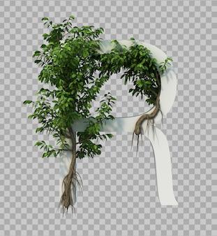 3d-weergave van kruipende boom op alfabet r