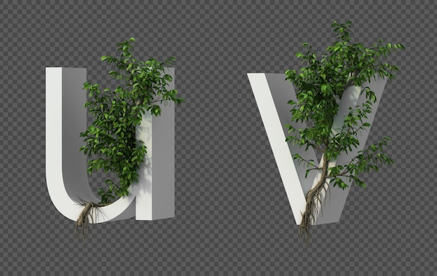 3d-weergave van kruipende boom op alfabet u en alfabet v