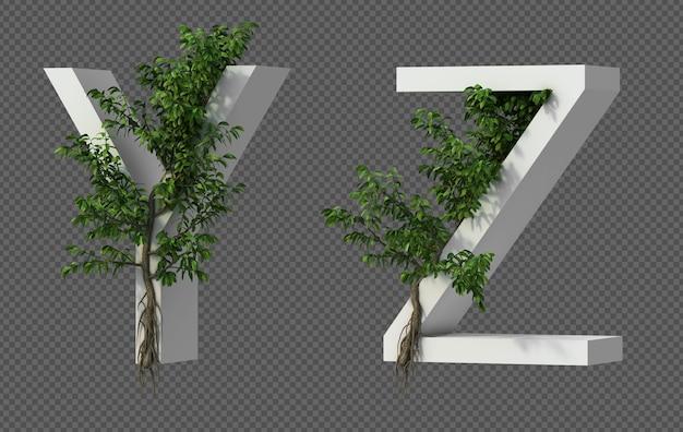 3d-weergave van kruipende boom op alfabet y en alfabet z