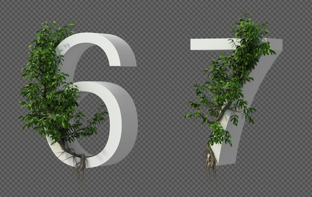 3d-weergave van kruipende boom op nummer 6 en nummer 7