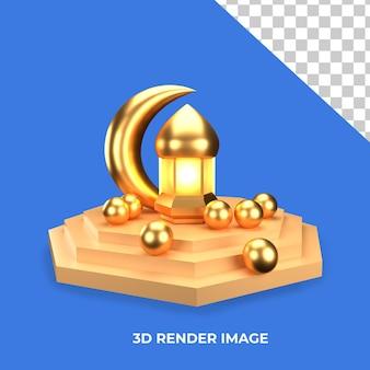 3d-weergave van lantaarns met islamitisch concept