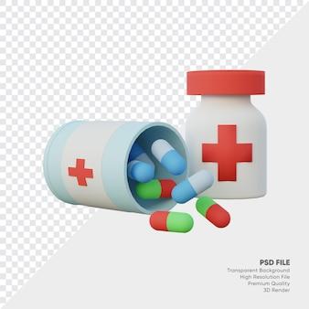 3d-weergave van medicijnfles met capsules