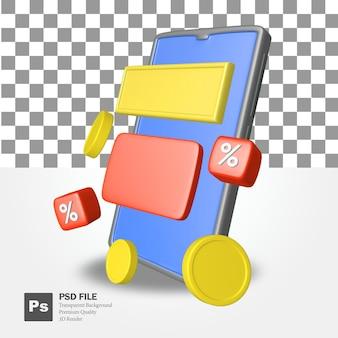 3d-weergave van mobiele objecten met munten en kortingen