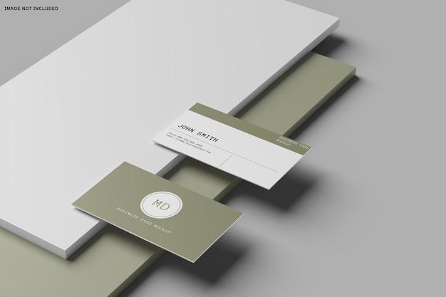 3d-weergave van mockup-ontwerp voor visitekaartjes