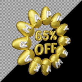 3d-weergave van nieuwjaarsaanbieding met 65 procent korting op ballongoud