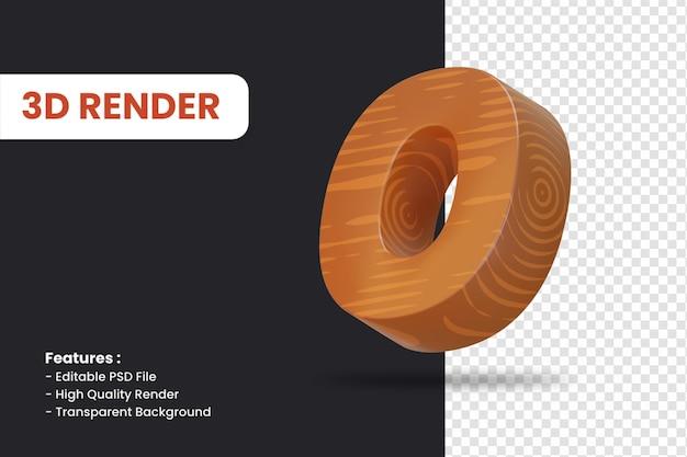 3d-weergave van nummer 0 met geïsoleerd houtstructuureffect