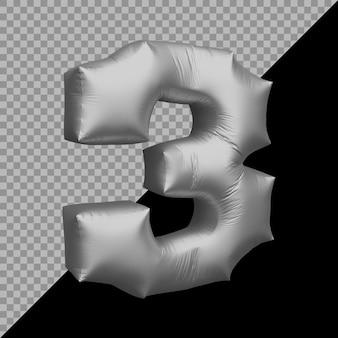 3d-weergave van nummer 3 ballon zilver
