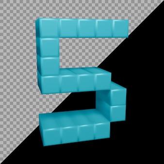 3d-weergave van nummer 5