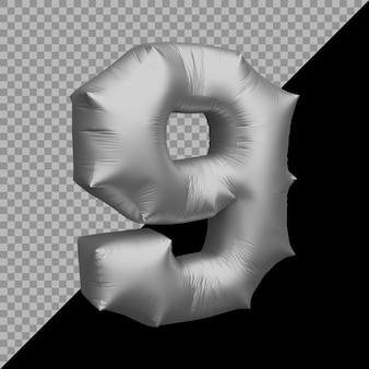 3d-weergave van nummer 9 ballon zilver
