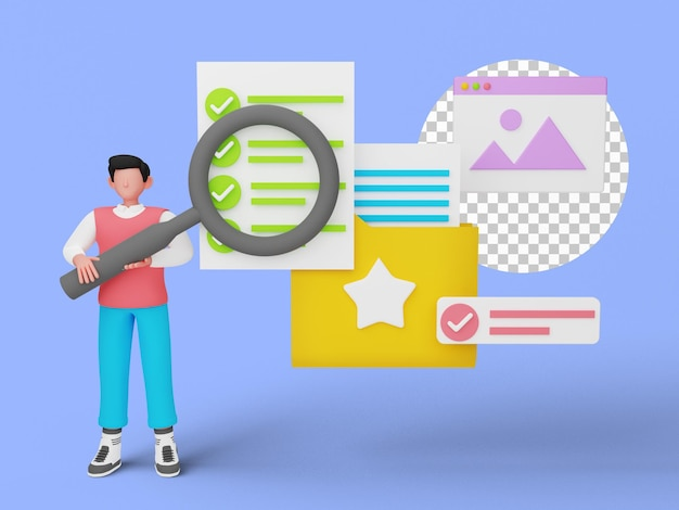 3d-weergave van online documentbeheer