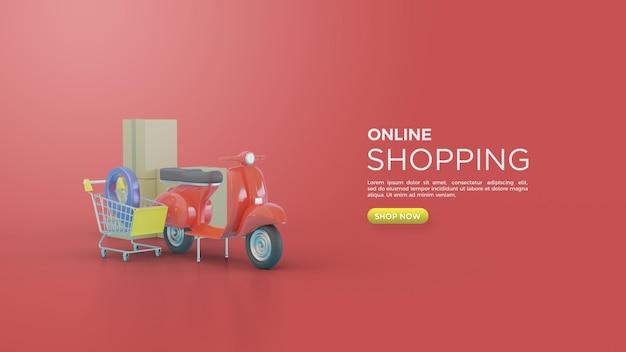 3d-weergave van online winkelen voor sociale media met vespa en winkelwagentje