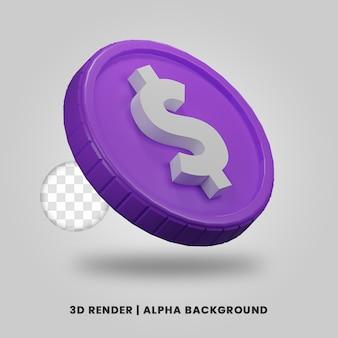 3d-weergave van paarse dollar munt geïsoleerd. nuttig voor zakelijke of e-commerce project ontwerp illustratie.