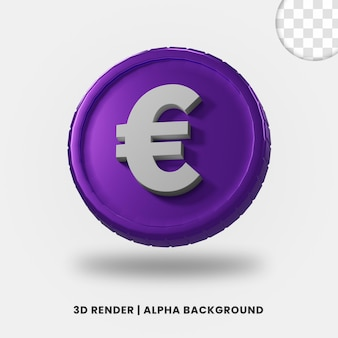 3d-weergave van paarse kleur euromunt met glanzend effect geïsoleerd. nuttig voor zakelijke of e-commerce projectillustratie.