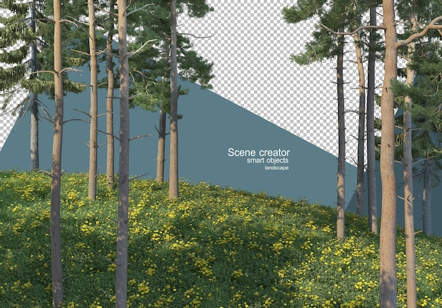 3d-weergave van pijnbomen op de met gras begroeide helling