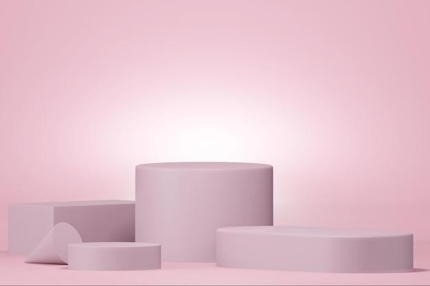 3d-weergave van podium in minimaal ontwerp