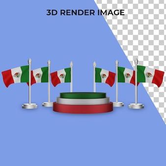 3d-weergave van podium met mexico nationale dag concept