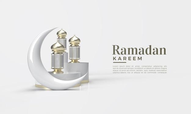 3d-weergave van ramadan kareem in goud op witte achtergrond