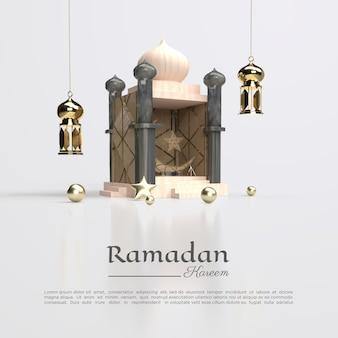 3d-weergave van ramadan kareem met koepels en lamp voor sociale media