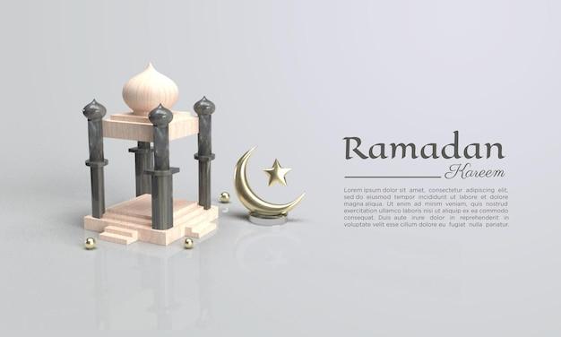 3d-weergave van ramadan kareem met koepels illustratie