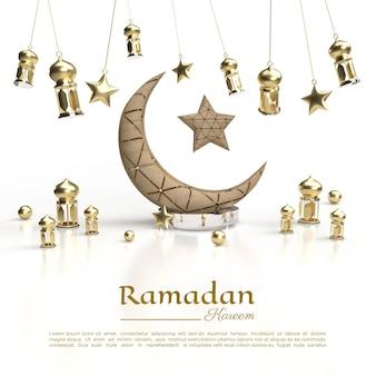 3d-weergave van ramadan kareem met lamp voor sociale media