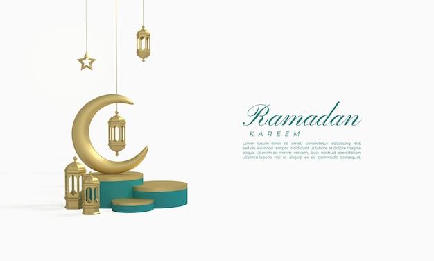 3d-weergave van ramadan kareem met maan en gouden lichten op een podium
