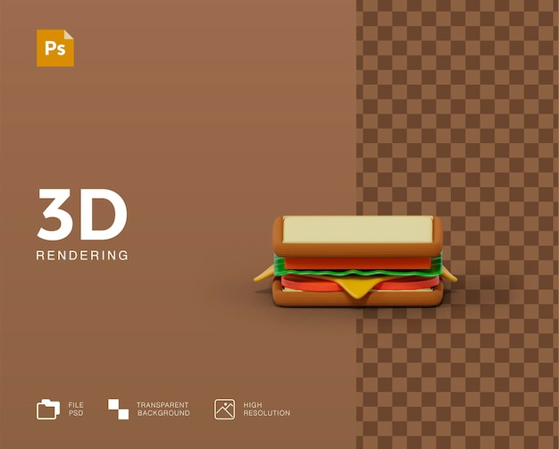 3d-weergave van sandwich-illustraties