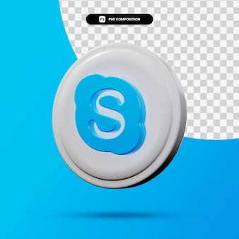 3d-weergave van skype-toepassingslogo geïsoleerd