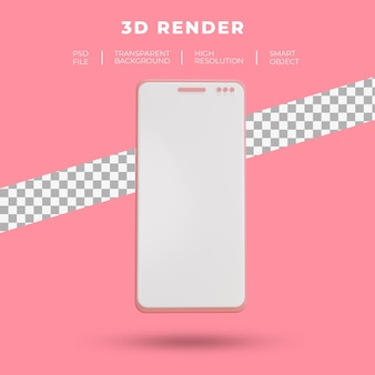 3d-weergave van smartphone geïsoleerd